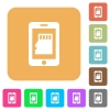 Smartphone memory rounded square flat icons - Smartphone memory flat icons on rounded square vivid color backgrounds.