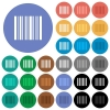 Barcode round flat multi colored icons - Barcode multi colored flat icons on round backgrounds. Included white, light and dark icon variations for hover and active status effects, and bonus shades on black backgounds.