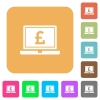 Laptop with Pound sign rounded square flat icons - Laptop with Pound sign flat icons on rounded square vivid color backgrounds.