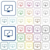 Adjust screen resolution outlined flat color icons - Adjust screen resolution color flat icons in rounded square frames. Thin and thick versions included.
