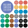 Binary code round flat multi colored icons - Binary code multi colored flat icons on round backgrounds. Included white, light and dark icon variations for hover and active status effects, and bonus shades on black backgounds.