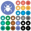 Bug round flat multi colored icons - Bug multi colored flat icons on round backgrounds. Included white, light and dark icon variations for hover and active status effects, and bonus shades on black backgounds.
