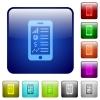 Mobile applications color square buttons - Mobile applications icons in rounded square color glossy button set