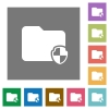 Protect folder square flat icons - Protect folder flat icons on simple color square backgrounds