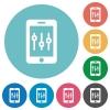 Smartphone tweaking flat round icons - Smartphone tweaking flat white icons on round color backgrounds