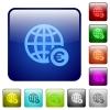 Online Euro payment color square buttons - Online Euro payment icons in rounded square color glossy button set