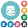 Remove from database flat round icons - Remove from database flat white icons on round color backgrounds