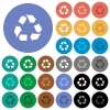 Recycling round flat multi colored icons - Recycling multi colored flat icons on round backgrounds. Included white, light and dark icon variations for hover and active status effects, and bonus shades on black backgounds.