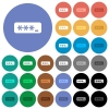 PIN code round flat multi colored icons - PIN code multi colored flat icons on round backgrounds. Included white, light and dark icon variations for hover and active status effects, and bonus shades on black backgounds.