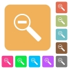 Zoom out flat icons on rounded square vivid color backgrounds. - Zoom out rounded square flat icons