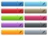 USB plug icons on color glossy, rectangular menu button - USB plug engraved style icons on long, rectangular, glossy color menu buttons. Available copyspaces for menu captions.