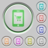 Mobile shopping push buttons - Mobile shopping color icons on sunk push buttons