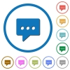 Working chat icons with shadows and outlines - Working chat flat color vector icons with shadows in round outlines on white background
