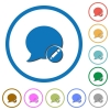 Moderate blog comment icons with shadows and outlines - Moderate blog comment flat color vector icons with shadows in round outlines on white background