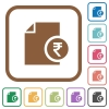 Indian Rupee financial report simple icons - Indian Rupee financial report simple icons in color rounded square frames on white background