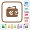 Euro wallet simple icons - Euro wallet simple icons in color rounded square frames on white background
