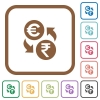Euro Rupee money exchange simple icons - Euro Rupee money exchange simple icons in color rounded square frames on white background