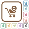 Cart settings simple icons - Cart settings simple icons in color rounded square frames on white background