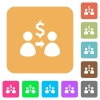 Send dollars rounded square flat icons - Send dollars flat icons on rounded square vivid color backgrounds.