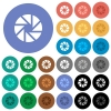 Aperture round flat multi colored icons - Aperture multi colored flat icons on round backgrounds. Included white, light and dark icon variations for hover and active status effects, and bonus shades on black backgounds.