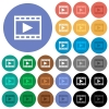 Play movie round flat multi colored icons - Play movie multi colored flat icons on round backgrounds. Included white, light and dark icon variations for hover and active status effects, and bonus shades on black backgounds.