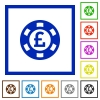Pound casino chip flat color icons in square frames on white background - Pound casino chip flat framed icons
