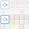 Rotate element outlined flat color icons - Rotate element color flat icons in rounded square frames. Thin and thick versions included.
