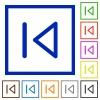 Media prev flat framed icons - Media prev flat color icons in square frames on white background