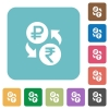 Ruble Rupee money exchange rounded square flat icons - Ruble Rupee money exchange white flat icons on color rounded square backgrounds