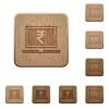 Laptop with Rupee sign wooden buttons - Laptop with Rupee sign on rounded square carved wooden button styles