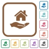 Home insurance simple icons - Home insurance simple icons in color rounded square frames on white background