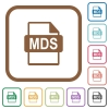 MDS file format simple icons - MDS file format simple icons in color rounded square frames on white background