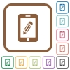 Smartphone memo simple icons - Smartphone memo simple icons in color rounded square frames on white background