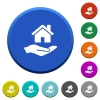 Home insurance beveled buttons - Home insurance round color beveled buttons with smooth surfaces and flat white icons
