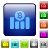 Bitcoin graph color square buttons - Bitcoin graph icons in rounded square color glossy button set