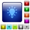 Lighting bulb color square buttons - Lighting bulb icons in rounded square color glossy button set