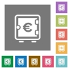 Euro strong box square flat icons - Euro strong box flat icons on simple color square backgrounds