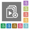 Playlist settings square flat icons - Playlist settings flat icons on simple color square backgrounds