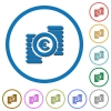 Euro coins icons with shadows and outlines - Euro coins flat color vector icons with shadows in round outlines on white background