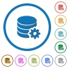 Database configuration icons with shadows and outlines - Database configuration flat color vector icons with shadows in round outlines on white background