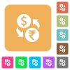 Dollar Rupee rounded square flat icons - Dollar Rupee flat icons on rounded square vivid color backgrounds.