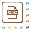 XLSX file format simple icons - XLSX file format simple icons in color rounded square frames on white background