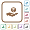 Rupee earnings simple icons - Rupee earnings simple icons in color rounded square frames on white background