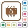 Hardware unlocked simple icons - Hardware unlocked simple icons in color rounded square frames on white background