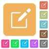 Editbox with pencil rounded square flat icons - Editbox with pencil flat icons on rounded square vivid color backgrounds.