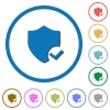 Protection ok icons with shadows and outlines - Protection ok flat color vector icons with shadows in round outlines on white background