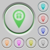 Gift shop GPS map location push buttons - Gift shop GPS map location color icons on sunk push buttons