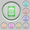 Mobile photography push buttons - Mobile photography color icons on sunk push buttons