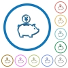 Yen piggy bank icons with shadows and outlines - Yen piggy bank flat color vector icons with shadows in round outlines on white background
