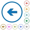 Left arrow icons with shadows and outlines - Left arrow flat color vector icons with shadows in round outlines on white background